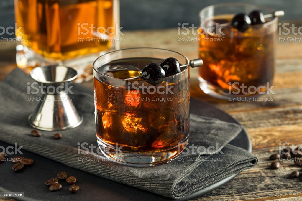 Homemade Boozy Coffee Old Fashioned stock photo