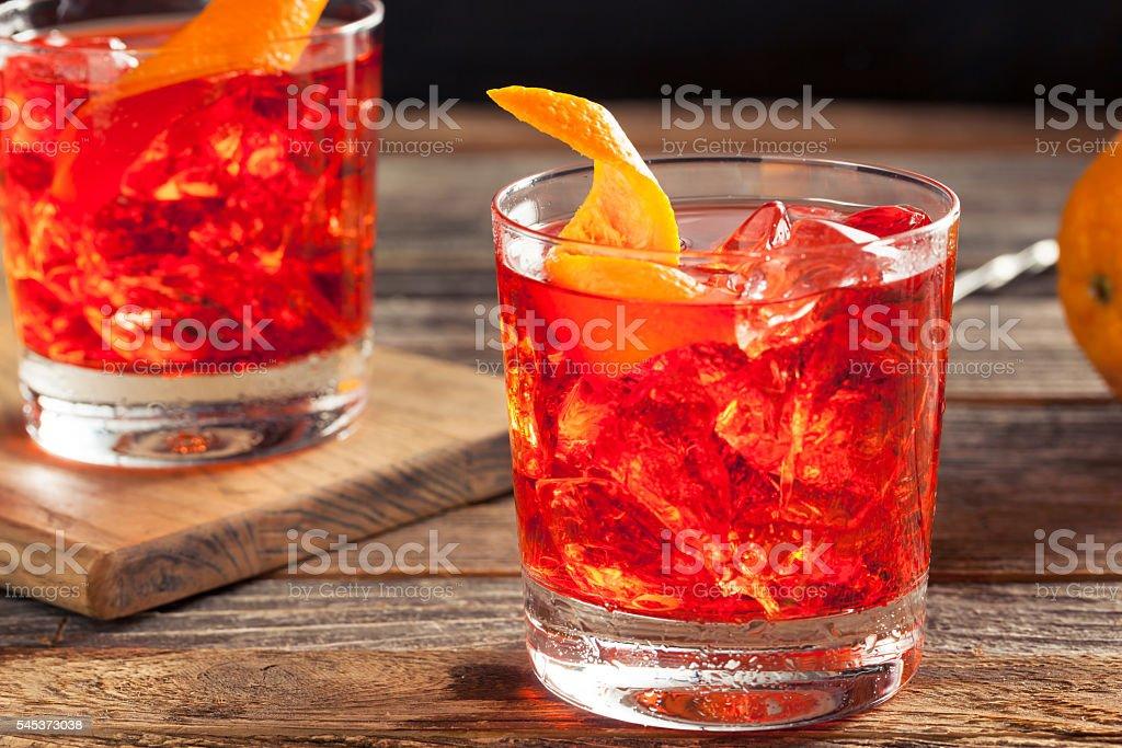 Homemade Boozy Negroni Cocktail foto de stock libre de derechos
