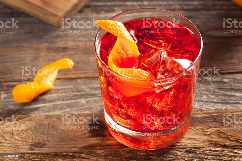 Homemade Boozy Negroni Cocktail stock photo