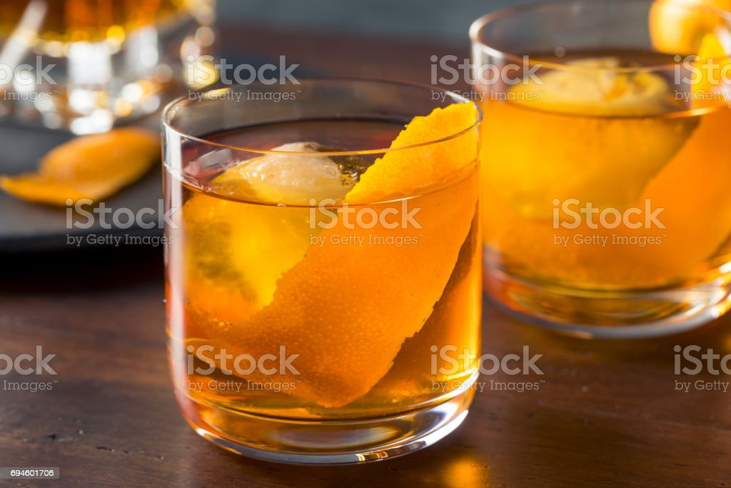 Homemade Boozy Old Fashioned Cocktail stock photo