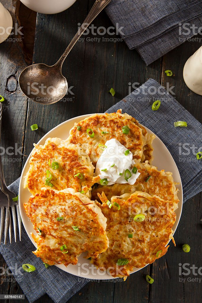 Homemade Boxty Irish Potato Pancakes stock photo