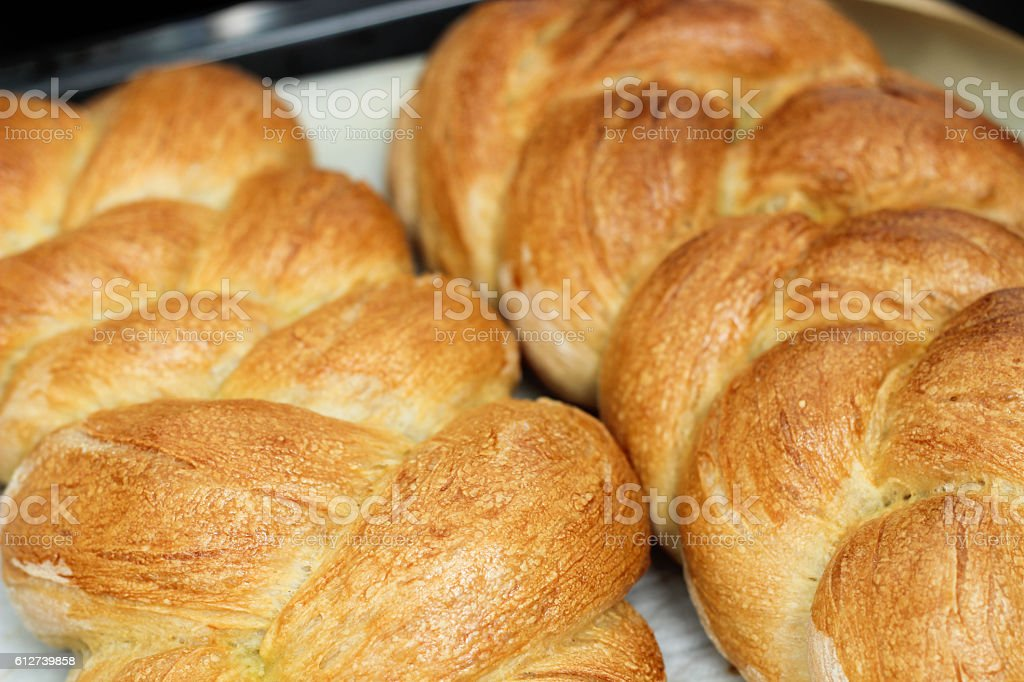 Homemade braided bread stock photo