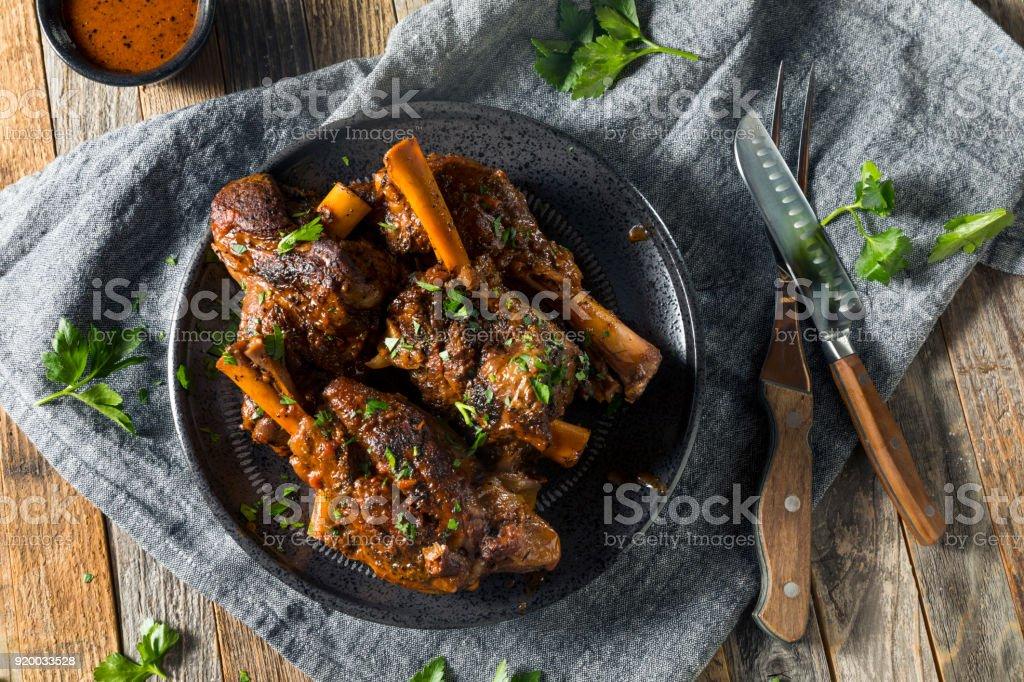 Homemade Braised Lamb Shanks stock photo