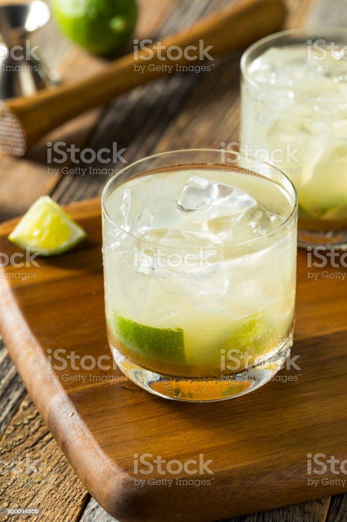 Homemade Brazilian Caipirinha Cocktails stock photo