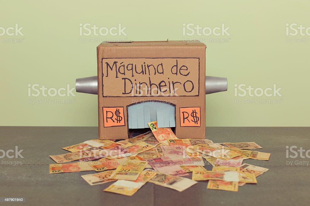 Hausgemachte brasilianische Geld machen-Maschine Lizenzfreies stock-foto