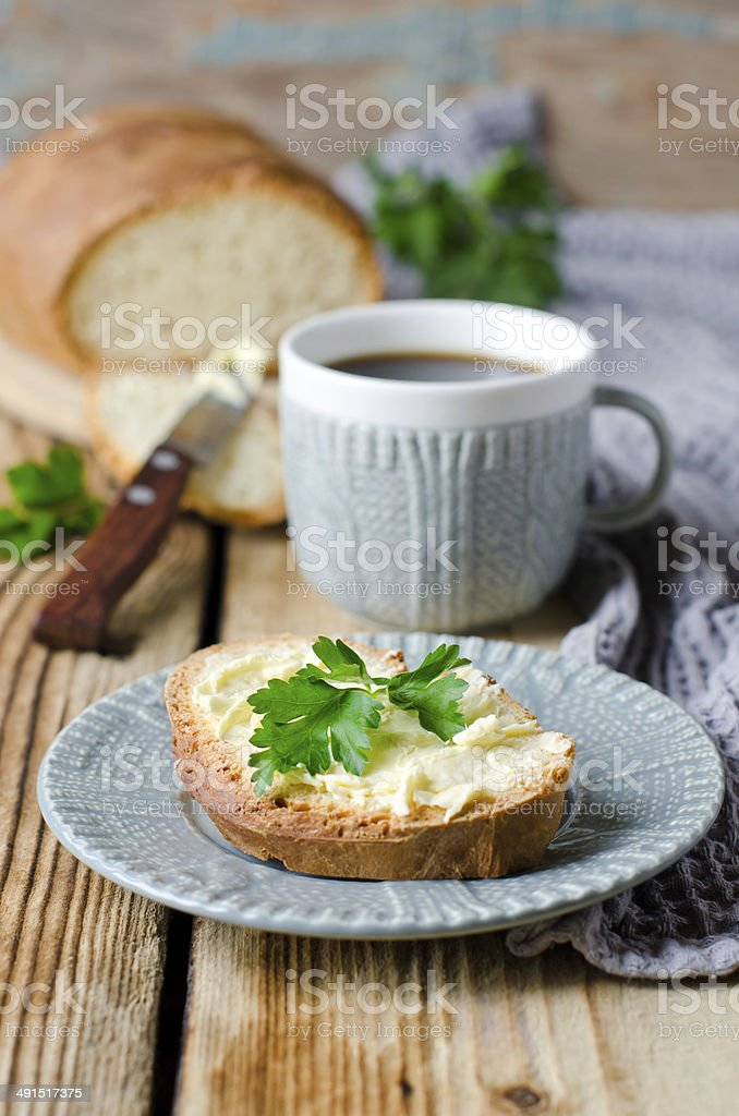 Homemade bread and butter royalty-free stock photo