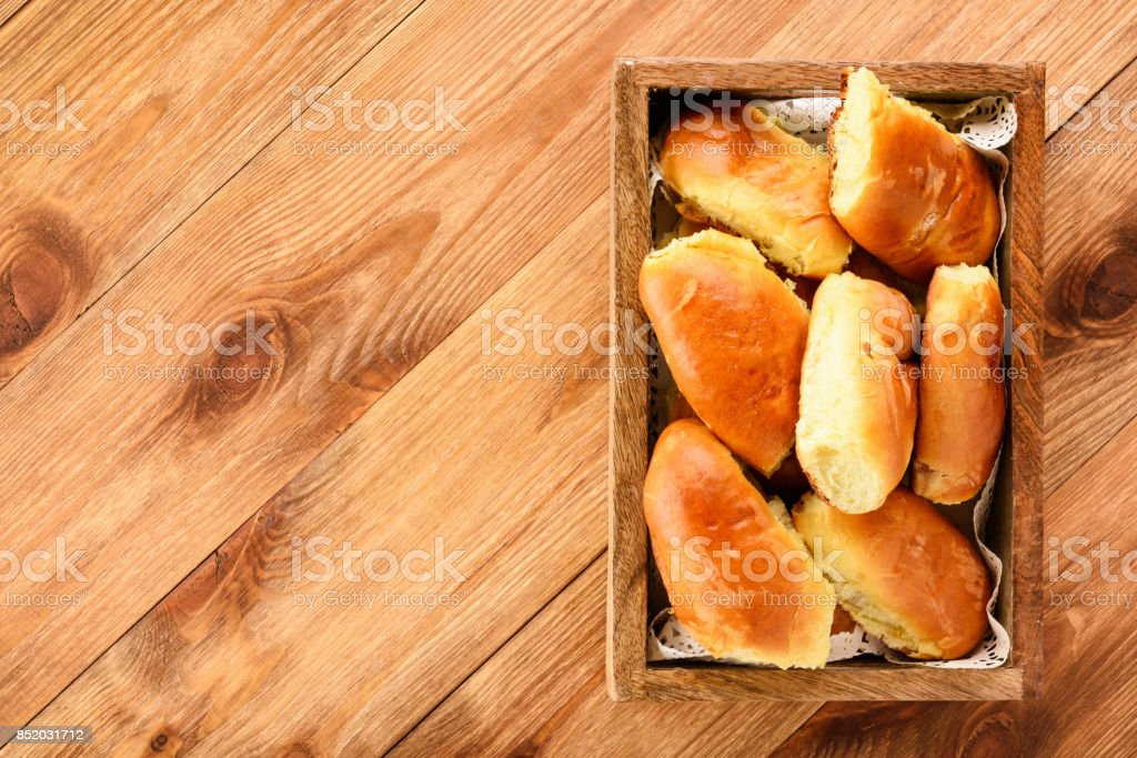 Homemade bread buns, russian style cuisine. stock photo