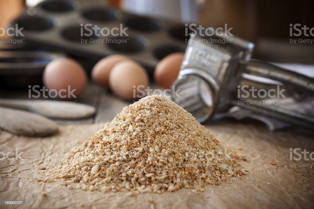 Homemade bread crumbs royalty-free stock photo
