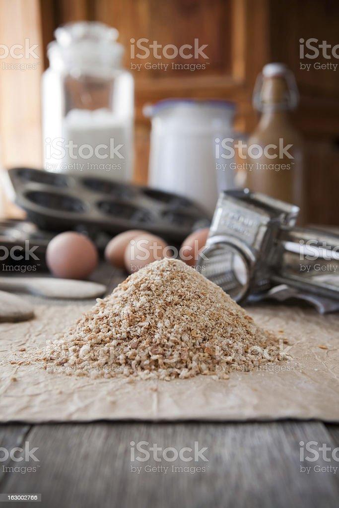 Homemade bread crumbs royalty-free stock photo