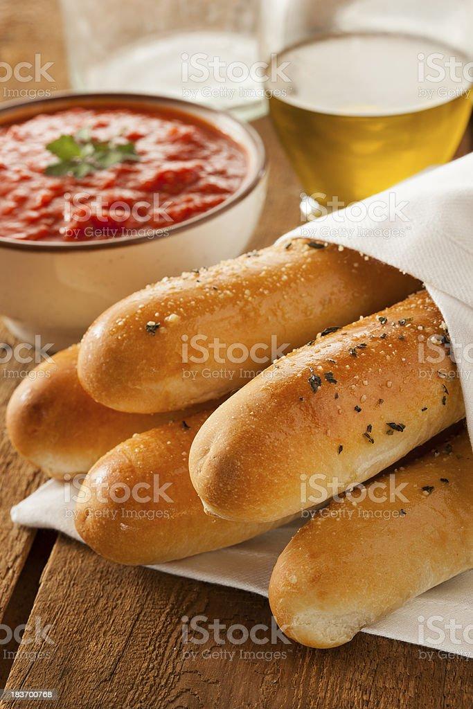 Homemade Bread Sticks with Marinera Sauce stock photo