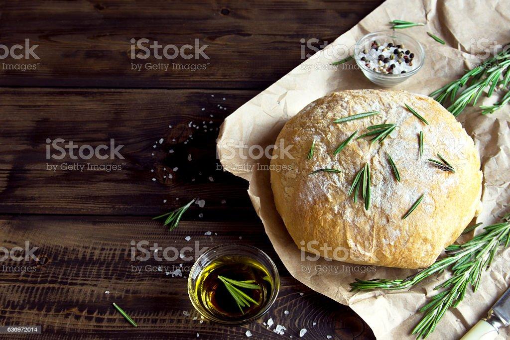 homemade bread with rosemary stock photo