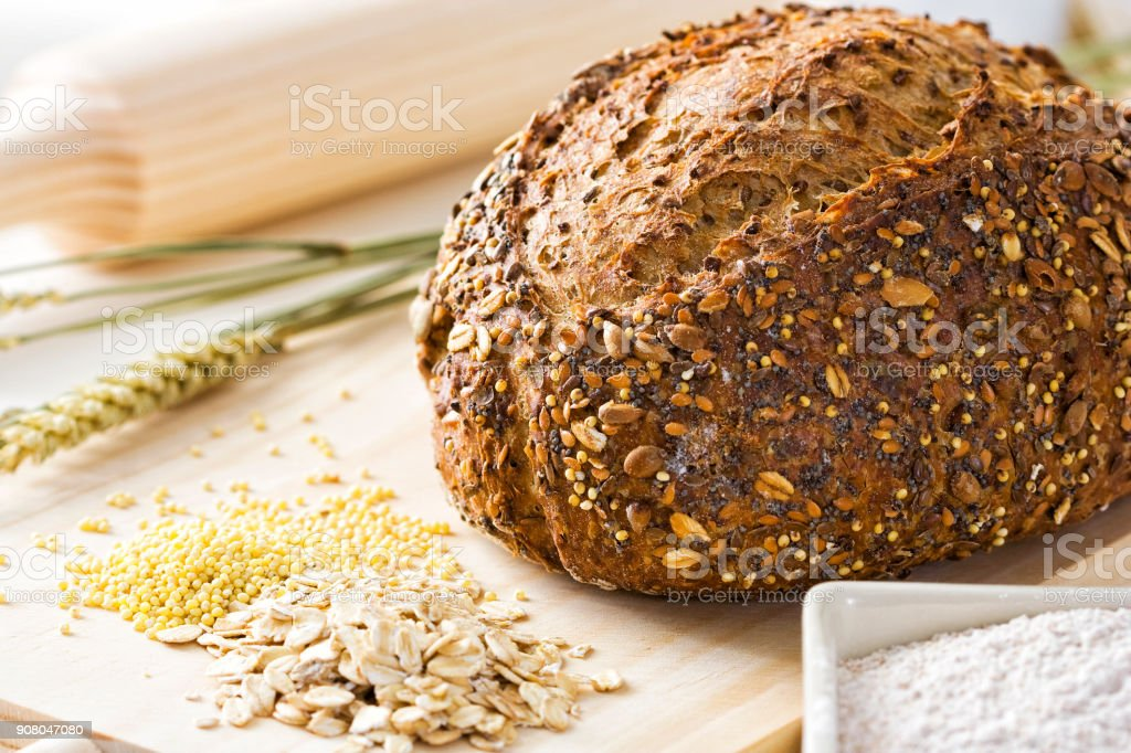 Homemade bread with seeds stock photo