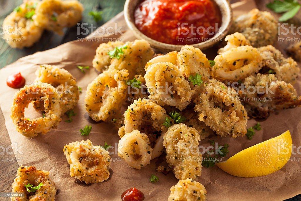 Homemade Breaded Fried Calamari stock photo