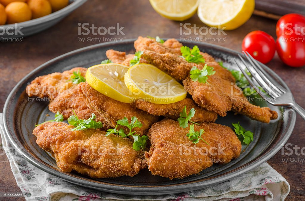 Homemade Breaded German Weiner stock photo