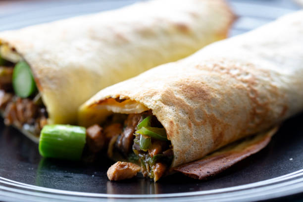 homemade  breakfast: minced chicken and pancake stock photo