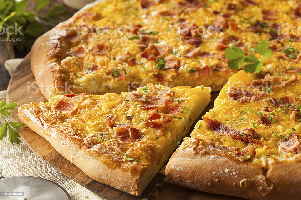 Homemade Breakfast Pizza with Bacon stock photo