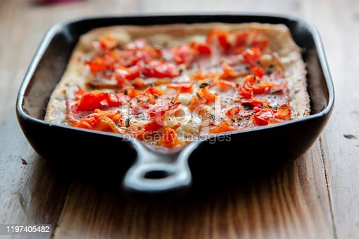 homemade breakfast: tomato and bacon puff pie