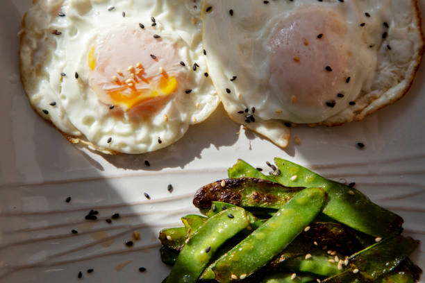homemade breakfast:fried broad bean and eggs