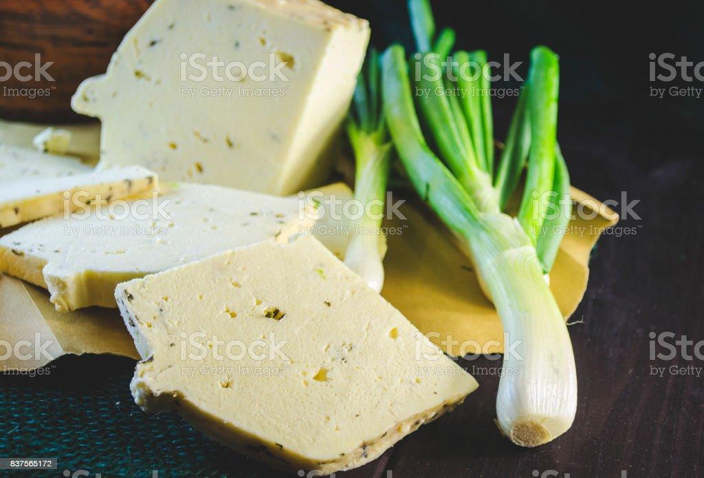 Homemade brynza with garlic stock photo