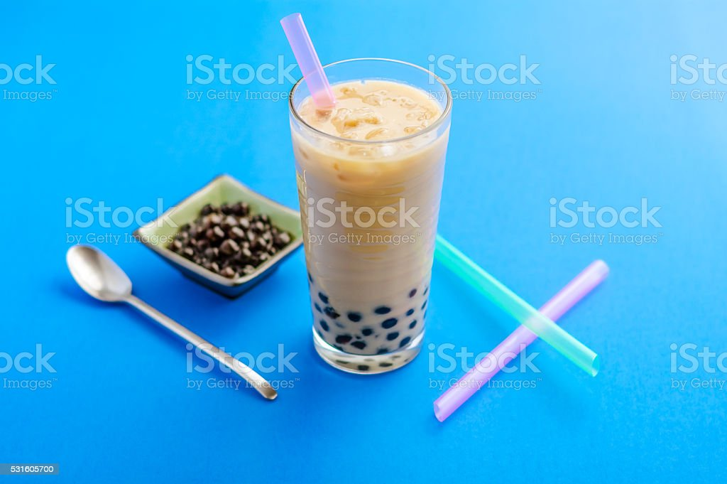 Homemade Bubble Milk Tea stock photo