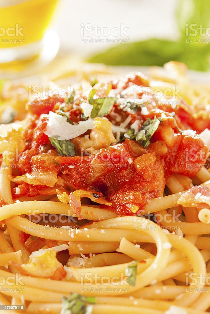 Homemade Bucatini Amatriciana Pasta royalty-free stock photo