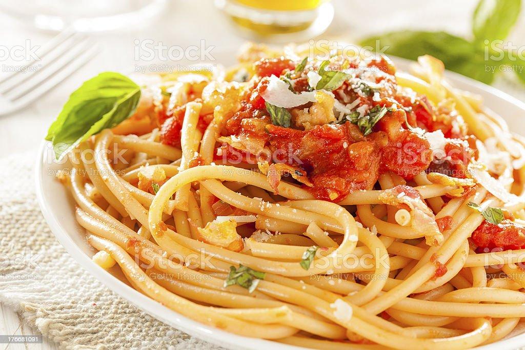 Homemade Bucatini Amatriciana Pasta royalty-free stock photo