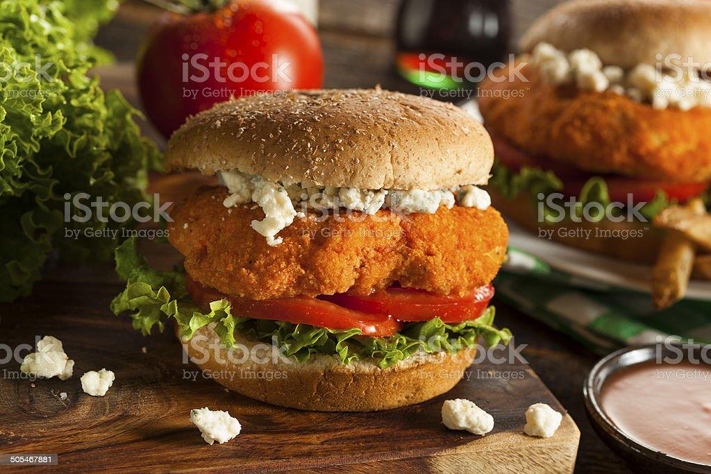 Homemade Buffalo Chicken Sandwich stock photo