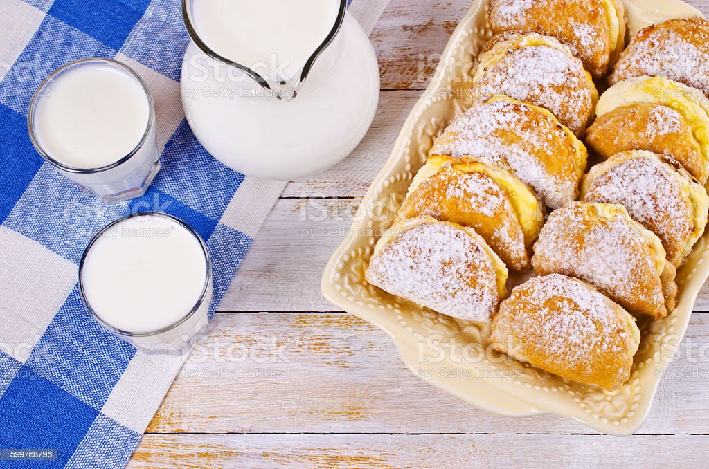 Homemade buns stuffed with cottage cheese stock photo