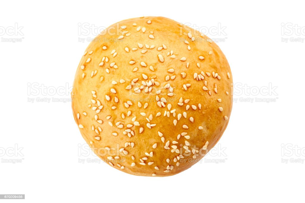 Homemade burger bun on white stock photo