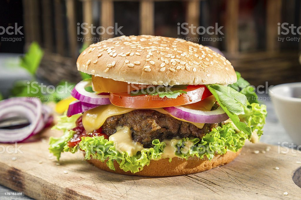 Homemade burger made from fresh vegetables and beef stock photo