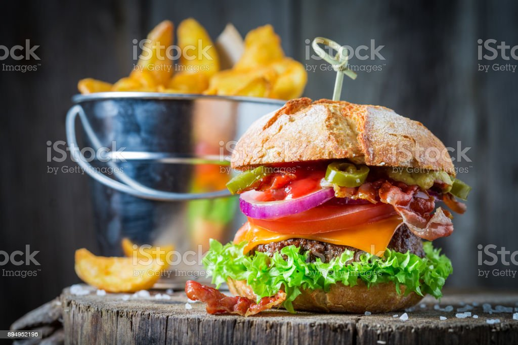 Homemade burger made of vegetables, beef and peppers stock photo