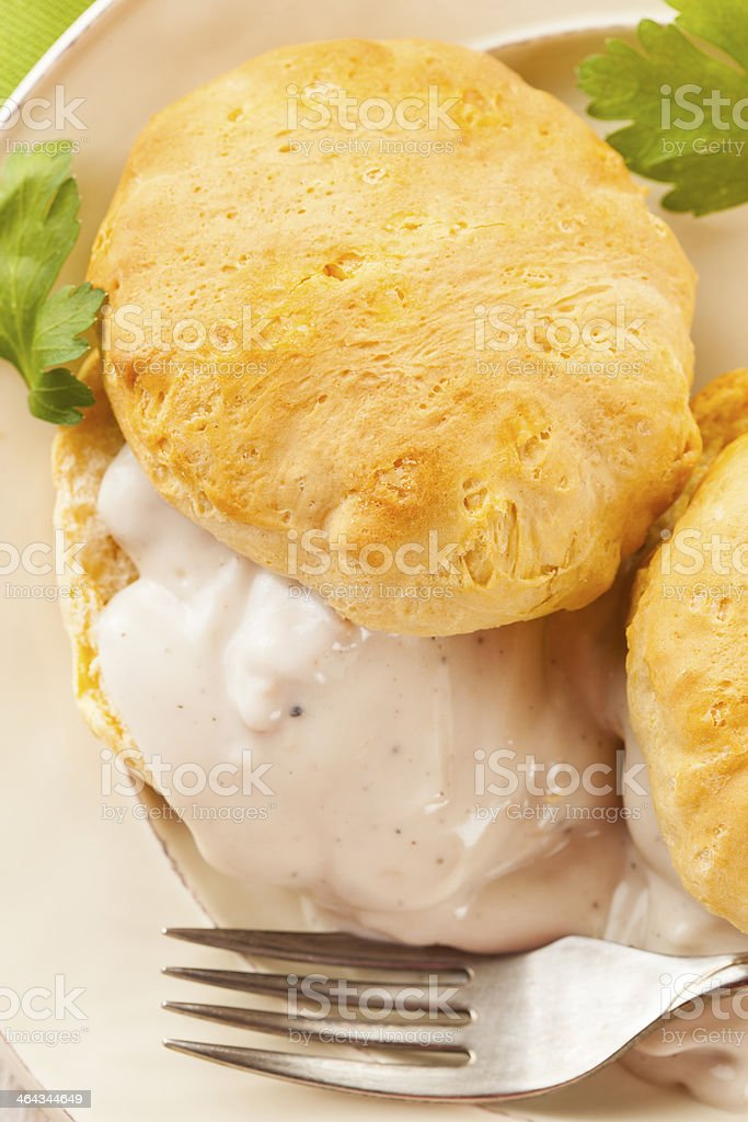 Homemade Buttermilk Biscuits and Gravy stock photo