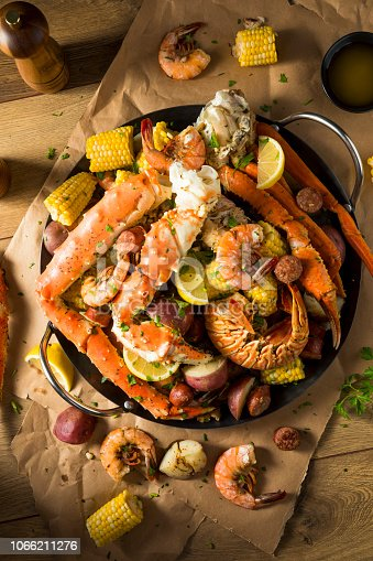 Homemade Cajun Seafood Boil with Lobster Crab and Shrimp