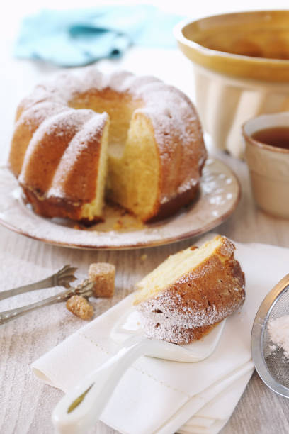 homemade cake and cup of tea - sugar cane foto e immagini stock