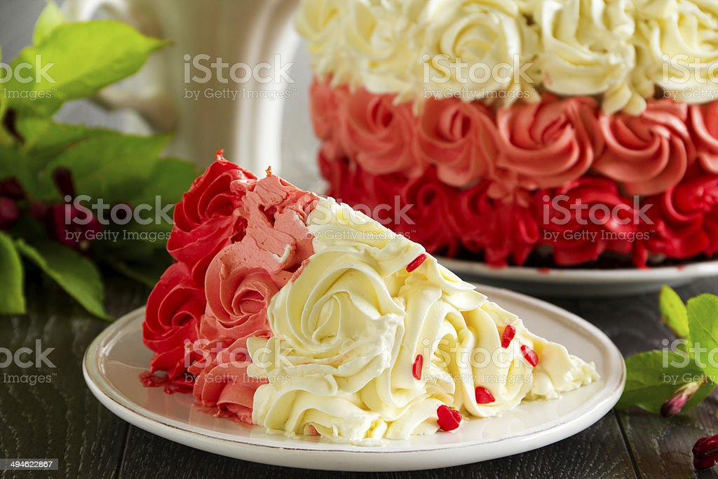 Homemade cake 'Red Velvet' decorated with cream. royalty-free stock photo