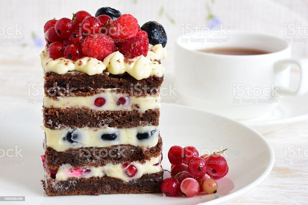 homemade cake with berries stock photo