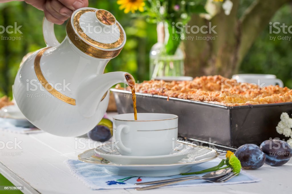 Homemade cake with plum served with coffee in sunny day foto stock royalty-free