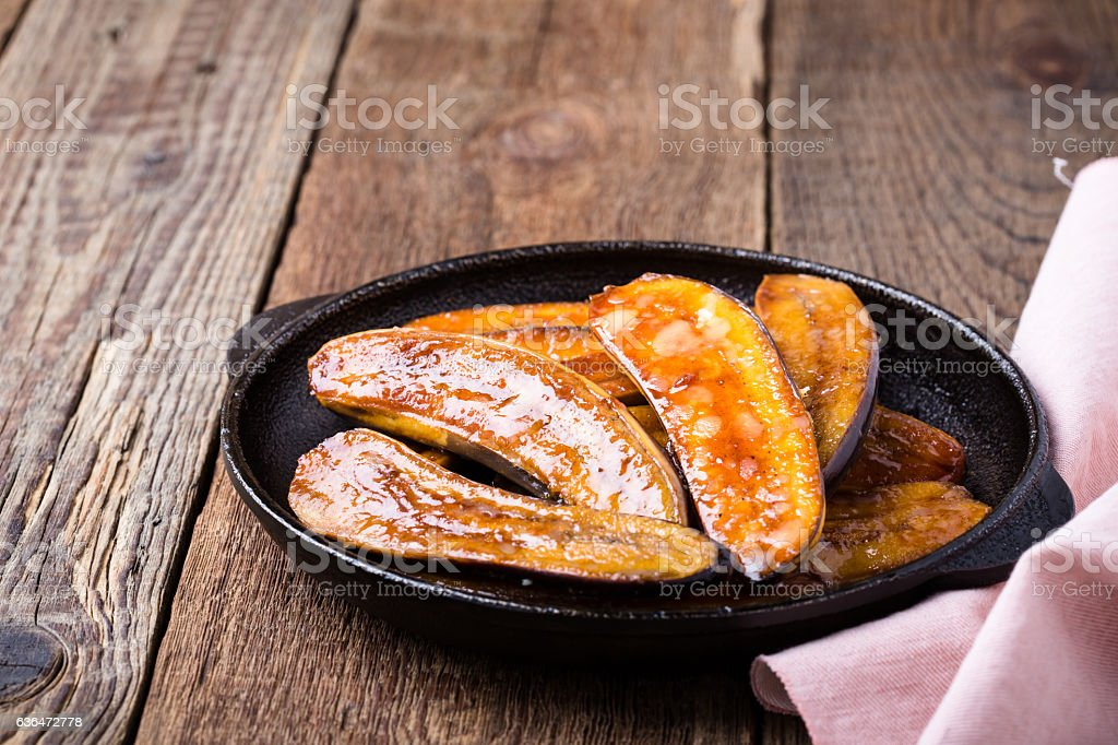Homemade caramelised banana, vegan dessert stock photo
