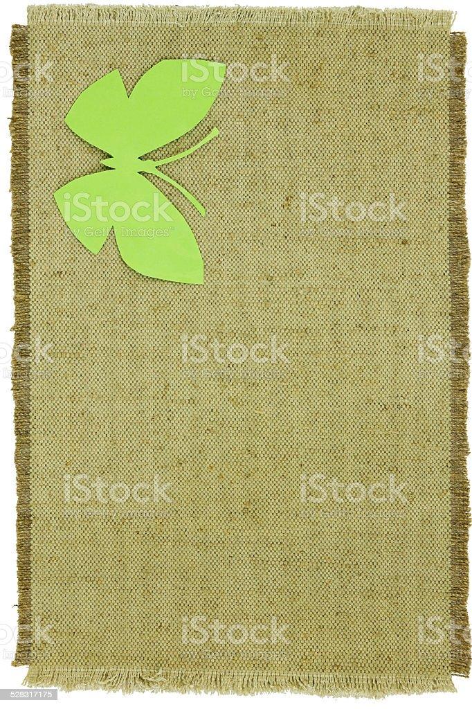 Hausgemachte Pappe Schmetterling auf Grün grob Tuch – Foto