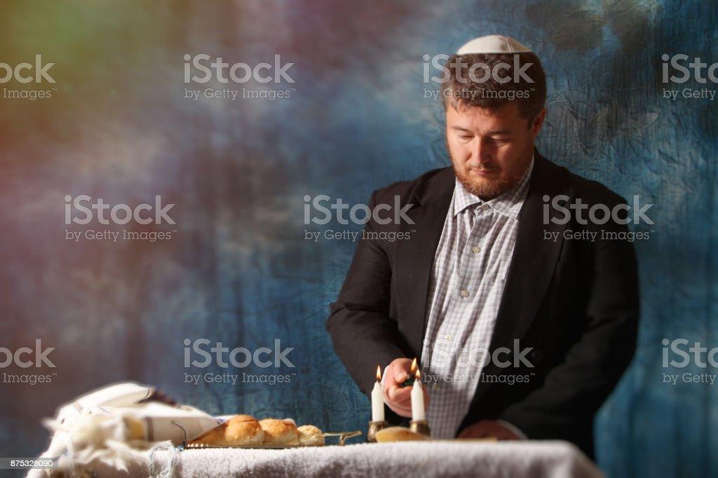 Homemade challah on Shabbat stock photo