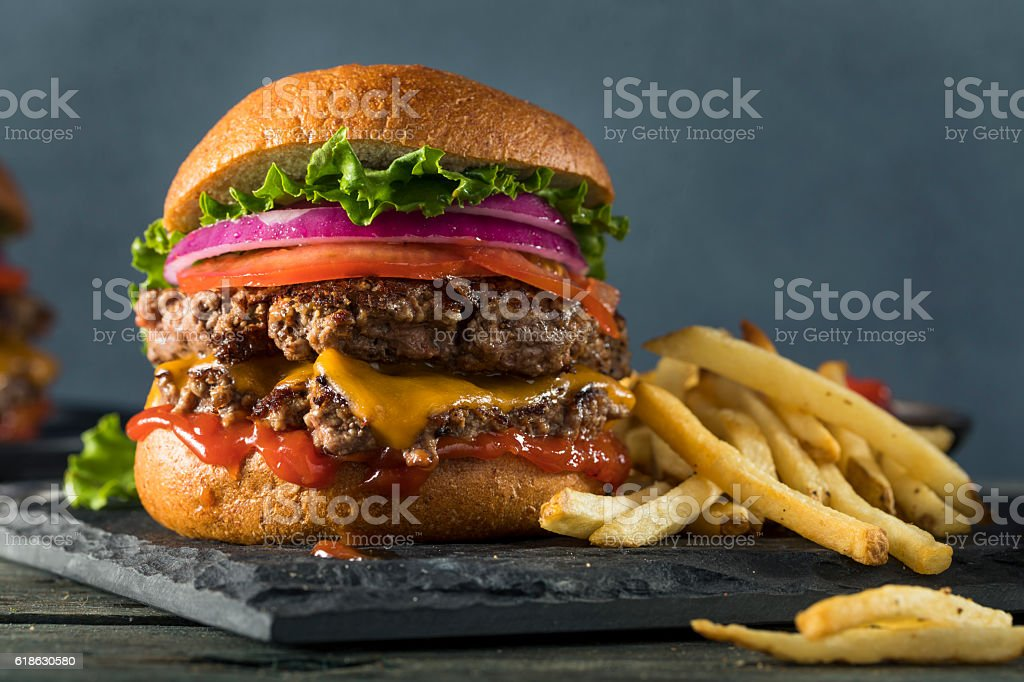 Homemade Cheese Burger stock photo
