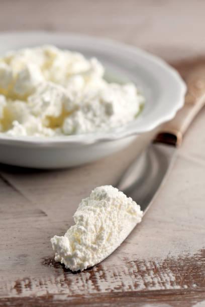 hausgemachter käse, frischer ricotta, molkenkäse, quark, - ricotta stock-fotos und bilder
