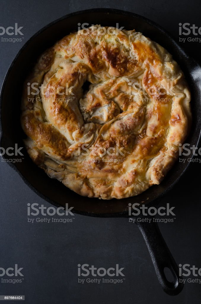 Homemade cheese pie - banitsa. stock photo
