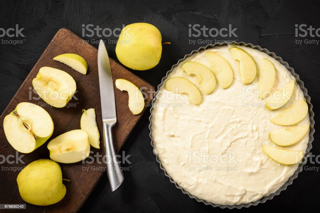 Homemade cheese pie with apples and cinnamon. royalty-free stock photo