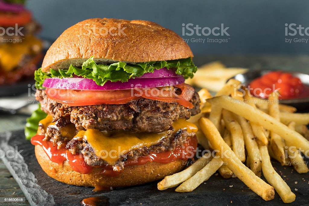 Homemade Cheese Smash Burger stock photo