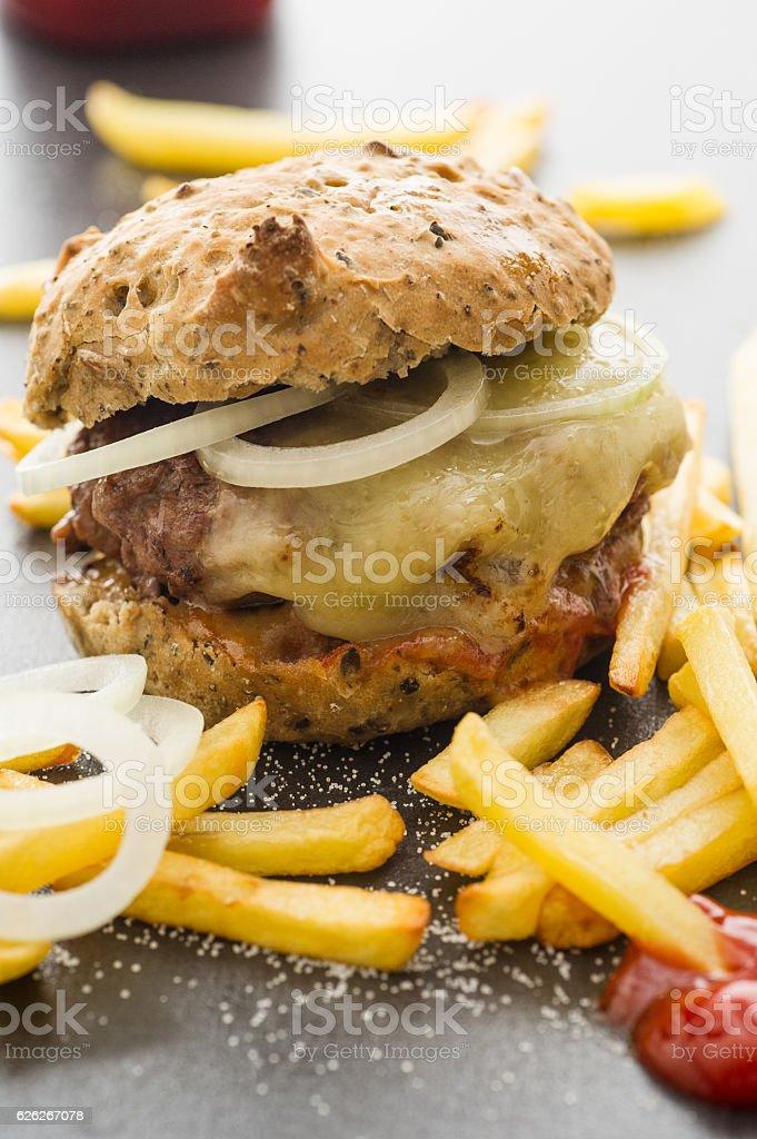 Homemade Cheeseburger bildbanksfoto