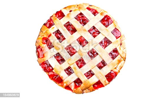 Homemade Cherry Pie fresh from the oven with a lattice crust and plump red cherries poking through.  Pie is isolated on a white background.