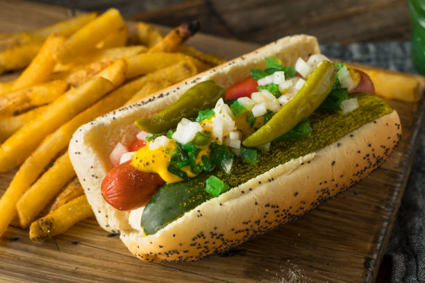 homemade chicago style hot dog with mustard - hot dog stock pictures, royalty-free photos & images