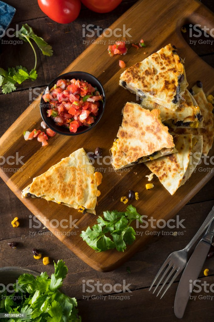Homemade Chicken and Cheese Quesadilla royalty-free stock photo