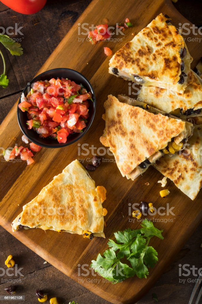 Homemade Chicken and Cheese Quesadilla stock photo